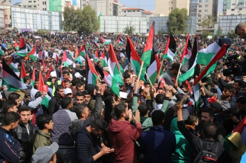 Thousands of Palestinians in the besieged Gaza Strip take part in protests against the Palestinian Authority on 24 February 2019 [Wafa Aludaini/Middle East Monitor]