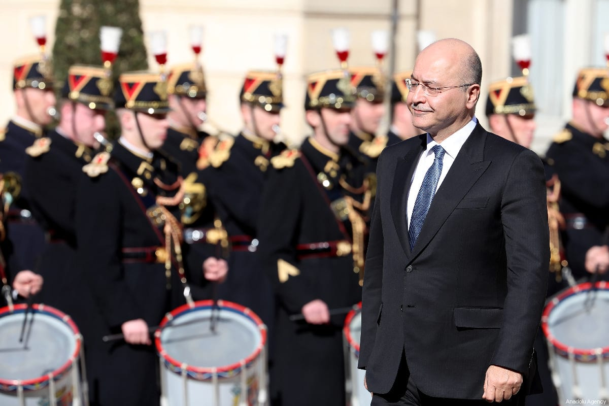 Iraqi President Barham Salih arrives at the Elysee Palace for his meeting with French President Emmanuel Macron (not seen) in Paris, France on 25 February 2019. [Mustafa Yalçın - Anadolu Agency]