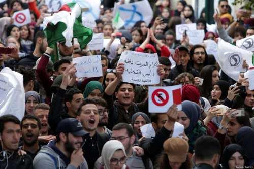 Algerian students gather to protest against the fifth term of Abdelaziz Bouteflika at the University of Algiers in Algiers, Algeria, on February 26, 2019 [Farouk Batiche / Anadolu Agency]