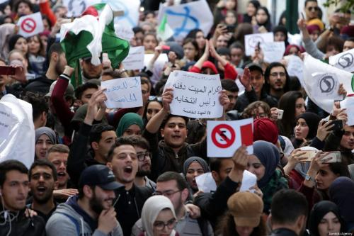 Algerian students gather to protest against the fifth term of Abdelaziz Bouteflika at the University of Algiers in Algiers, Algeria, on February 26, 2019 [Farouk Batiche / Anadolu Agency]