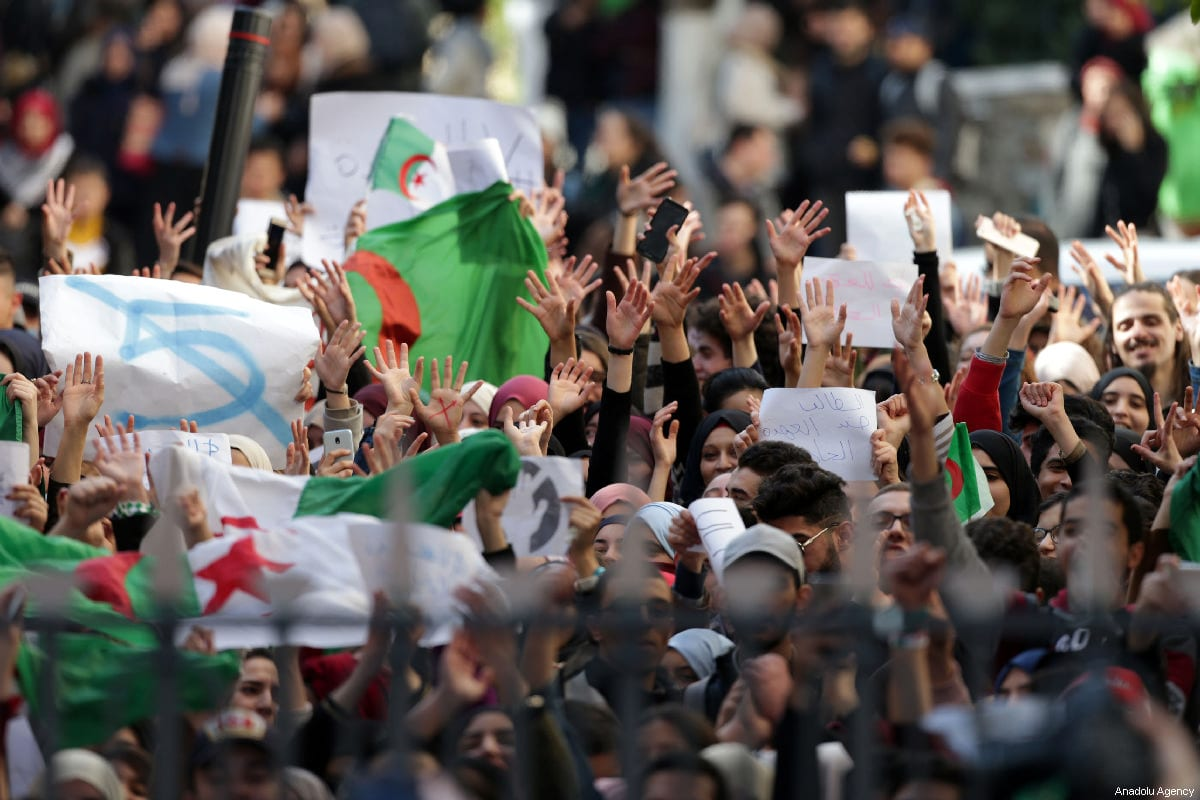 Algerian students gather to protest against the fifth term of Abdelaziz Bouteflika in Algiers, Algeria, on 26 February 2019 [Farouk Batiche/Anadolu Agency]