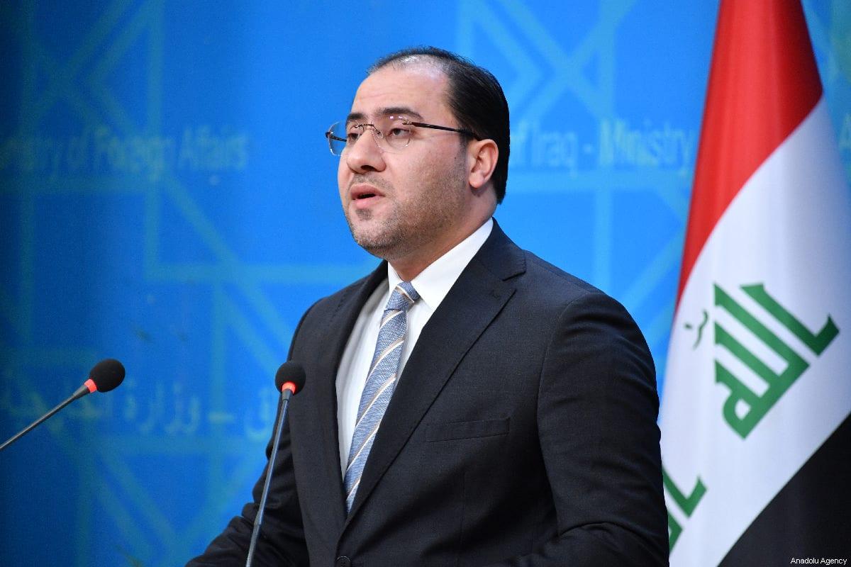 Iraqi Ministry of Foreign Affairs Spokesman, Ahmed Alsahaf speaks during a press conference in Baghdad, Iraq on 27 February 2019 [Haydar Karaalp/Anadolu Agency]