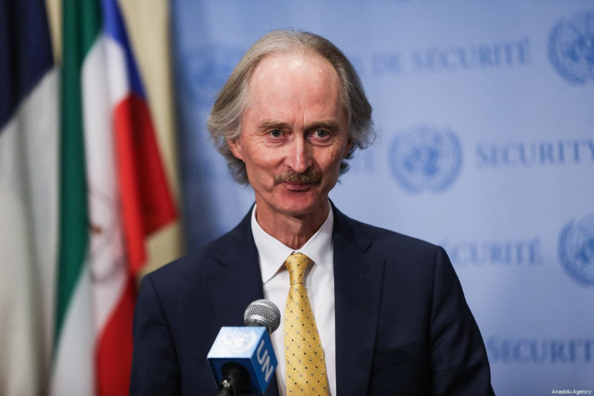 The United Nations Special Envoy for Syria Geir Pedersen, speaks during a press conference after the UN Security Council meeting at United Nations Headquarters in New York, United States on 28 February 2019. [Atılgan Özdil - Anadolu Agency]