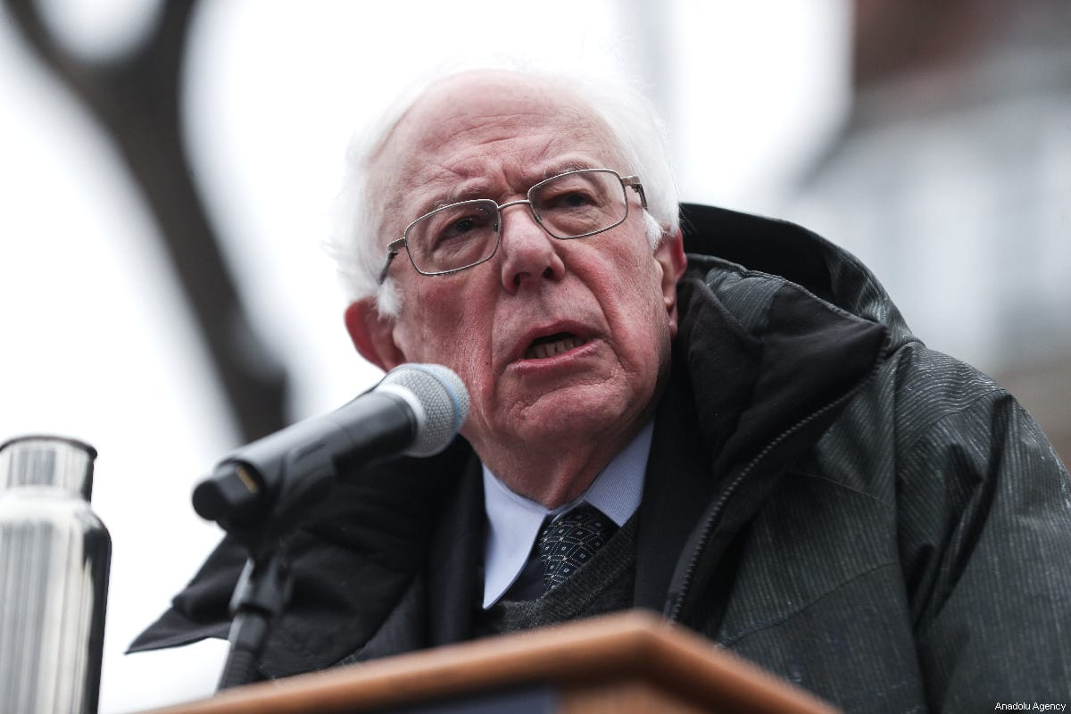 Vermont Senator Bernie Sanders delivers a speech during his first presidential campaign rally at Brooklyn College in New York, United States, 2 March 2019 [Atılgan Özdil/Anadolu Agency]