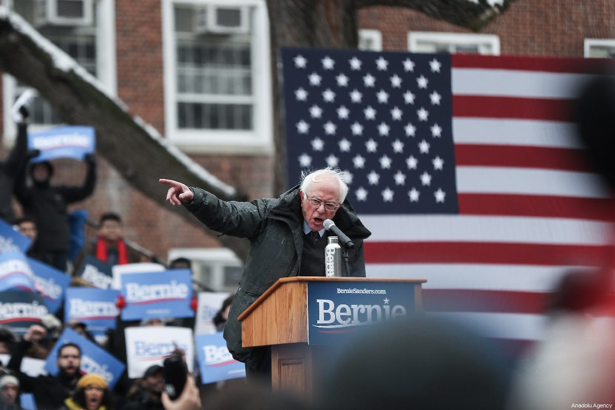 Bernie Sanders delivers a speech during his first presidential campaign rally at Brooklyn College in New York, United States, 2 March 2019.  [Atılgan Özdil - Anadolu Agency]