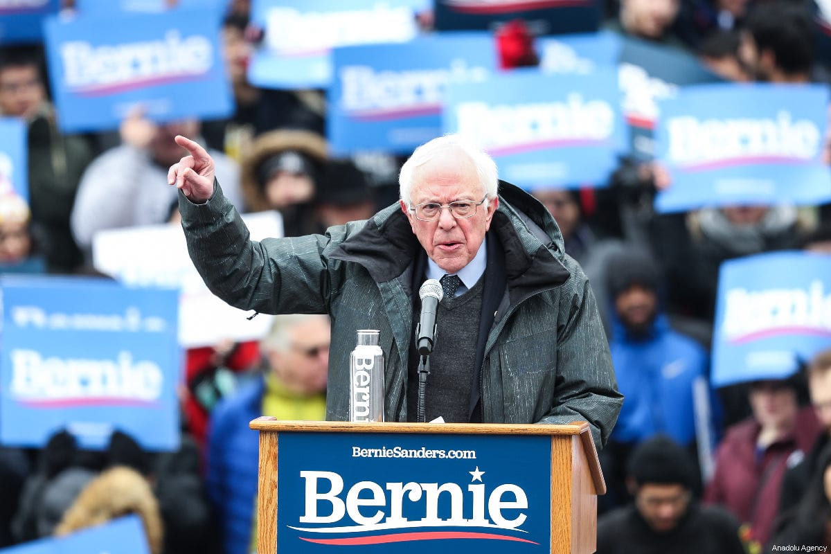 US Senator Bernie Sanders delivers a speech during his first presidential campaign rally at Brooklyn College in New York, US, 2 March 2019 