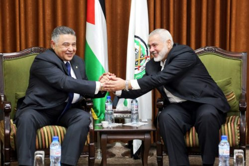 Head of the Political Bureau of Hamas, Ismail Haniyeh (R) meets Head of Palestinian File of Egypt's Intelligent Service Major General Ahmed Abdel Khalek (L) in Gaza City, Gaza on 5 March 2019. [Ismail Haniyeh's Press Office / Handout - Anadolu Agency]