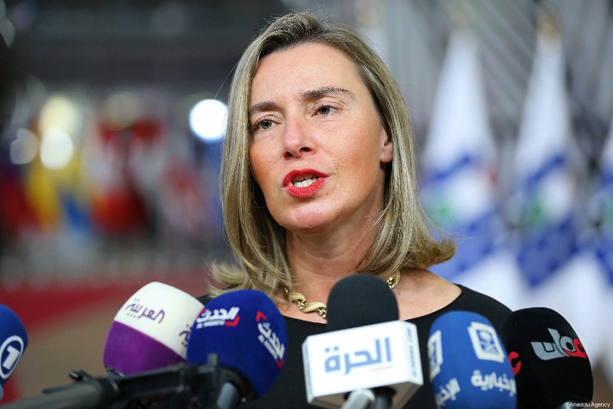 High Representative of the European Union for Foreign Affairs and Security Policy, Federica Mogherini holds a press conference in Brussels, Belgium on 14 March 2019 [Dursun Aydemir/Anadolu Agency]