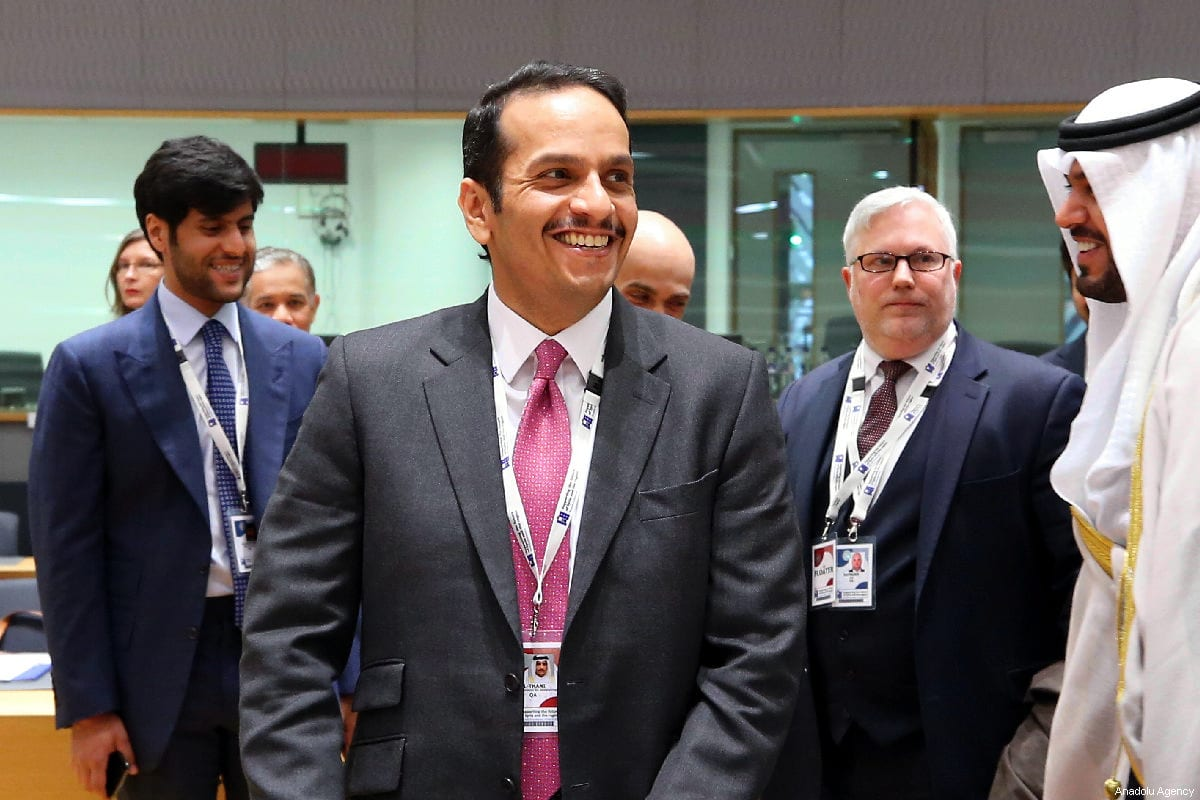 """Qatar's Foreign Minister, Sheikh Mohammed bin Abdulrahman bin Jassim Al Thani attends the conference titled """"Supporting the Future of Syria and Region"""" in Brussels, Belgium on March 14, 2019 [Dursun Aydemir / Anadolu Agency]"""
