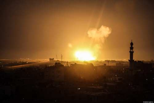 Flame and smoke blow up after Israeli fighter jets carried out airstrikes towards points of Izz ad-Din al-Qassam Brigades, the armed wing of Hamas, in Rafah, Gaza on 15 March, 2019 [Abed Rahim Khatib/Anadolu Agency]