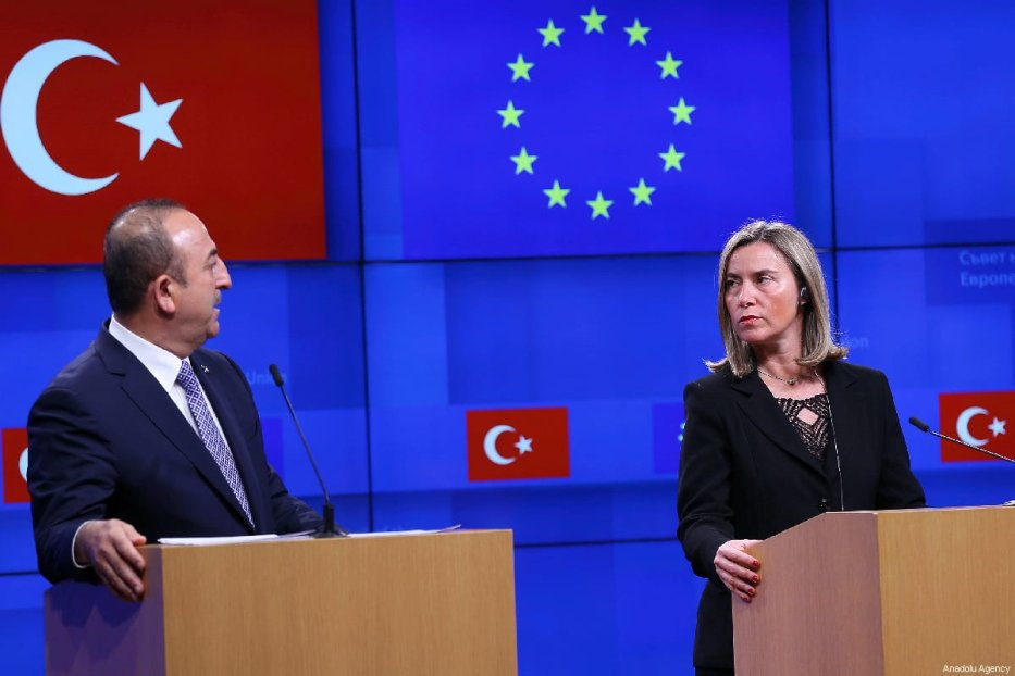 Turkish Foreign Minister Mevlut Cavusoglu (L), High Representative of the European Union for Foreign Affairs and Security Policy, Federica Mogherini (R) and European Commissioner for European Neighbourhood Policy and Enlargement Negotiations, Johannes Hahn (not seen) hold a joint press conference after EU-Turkey Association Council meeting is held in Brussels, Belgium on 15 March 2019. [Dursun Aydemir - Anadolu Agency]
