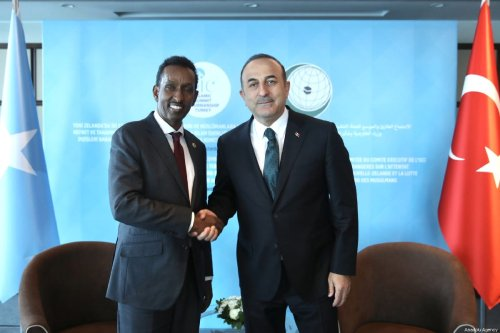 Turkish Foreign Minister Mevlut Cavusoglu (R) meets Somalian Foreign Minister Ahmed Isse Awad (L) in Istanbul, Turkey on 22 March 2019. [ Fatih Aktaş - Anadolu Agency]