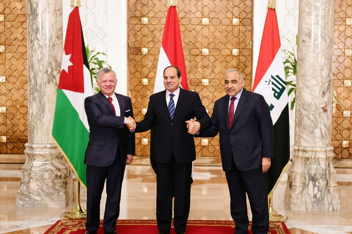 Egyptian President Abdel Fattah al-Sisi (C), Iraqi Prime Minister Adil Abdulmehdi (R), and Jordanian King Abdullah II (L) in Cairo, Egypt, on 24 March 2019 [PRESIDENCY OF EGYPT/HANDOUT/Anadolu Agency] a