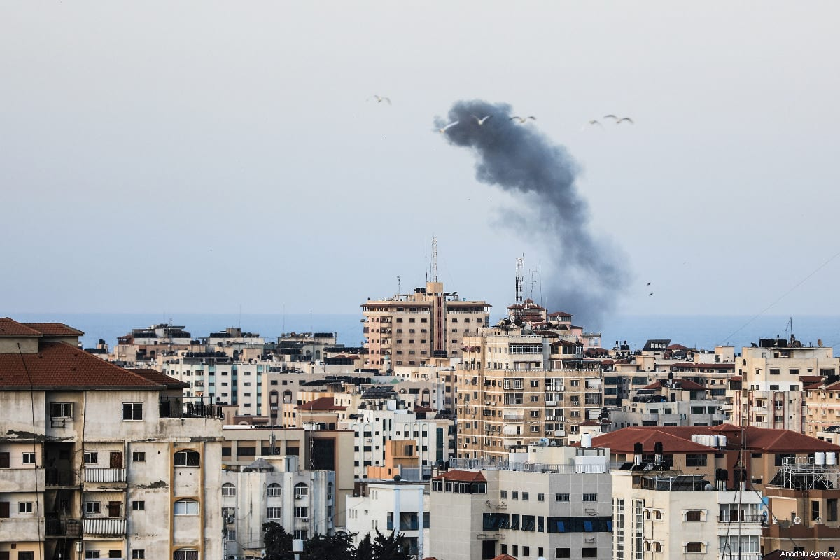 Smoke rises after Israeli warplanes carried out airstrike towards Gaza City, Gaza on March 26, 2019. ( Ali Jadallah - Anadolu Agency )