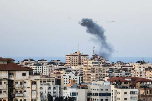 Smoke rises after Israeli warplanes carried out airstrike towards Gaza City, Gaza on March 26, 2019. ( Ali Jadallah - Anadolu Agency )