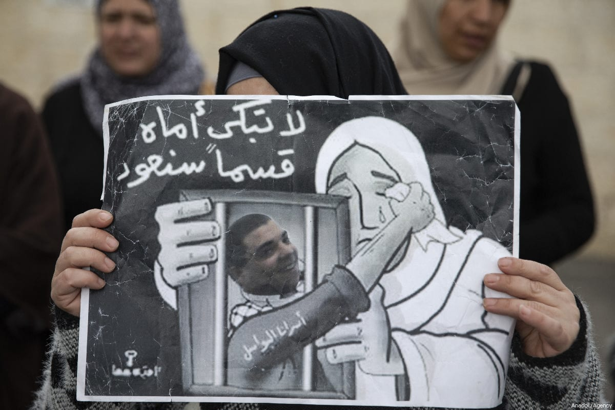 Palestinians demanding the release of Palestinian prisoners held in Israeli jails, stage a demonstration in Sheikh Jarrah neighborhood of Eastern Jerusalem on March 26, 2019. ( Faiz Abu Rmeleh - Anadolu Agency )