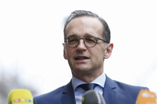 German Foreign Minister Heiko Maas speaks during joint press conference with French Foreign Affairs Minister Jean-Yves Le Drian (not seen) after their meeting in Berlin, Germany on March 27, 2019 [Abdülhamid Hoşbaş / Anadolu Agency]