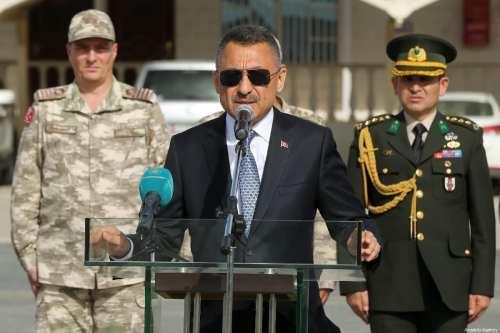 Turkish Vice President Fuat Oktay makes a speech during his visit at the Qatari-Turkish Armed Forces Land Command Base in Doha, Qatar on 27 March 2019. [Arda Küçükkaya - Anadolu Agency]