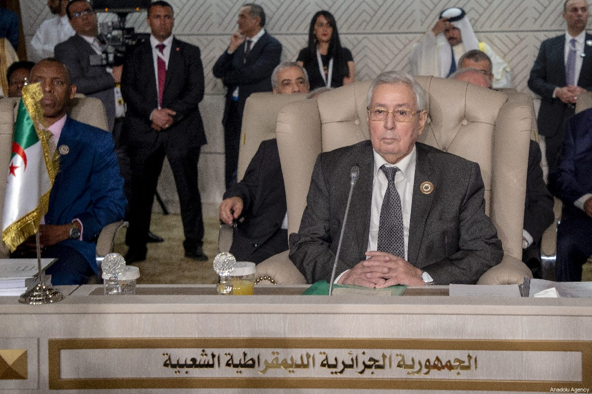 Algeria's Abdelkader Bensalah attends the opening session of the 30th Arab League Summit in Tunis, Tunisia on 31 March 2019 [Yassine Gaidi/Anadolu Agency]