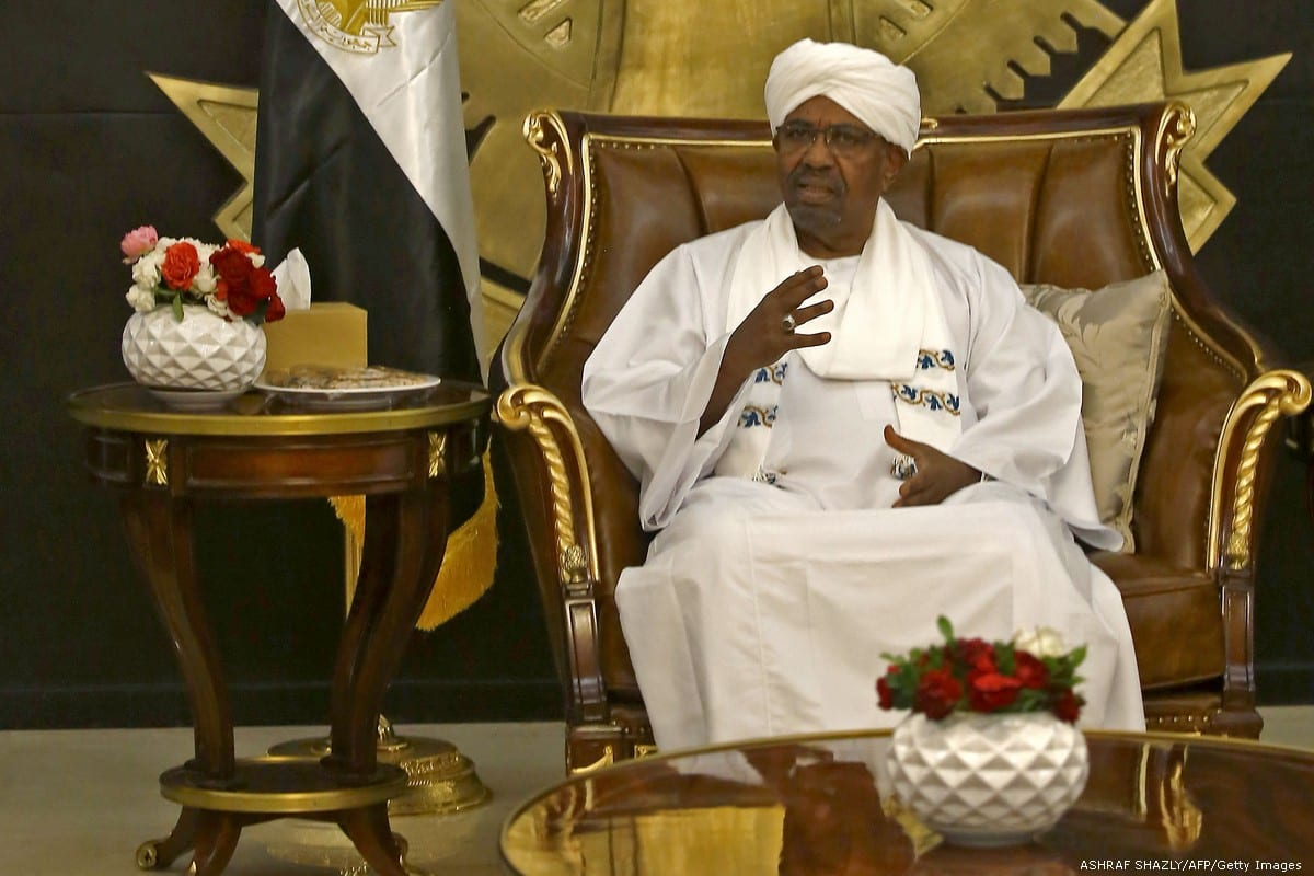 Sudanese President Omar Al-Bashir meets in Khartoum on 28 February 2019 [ASHRAF SHAZLY/AFP/Getty Images]