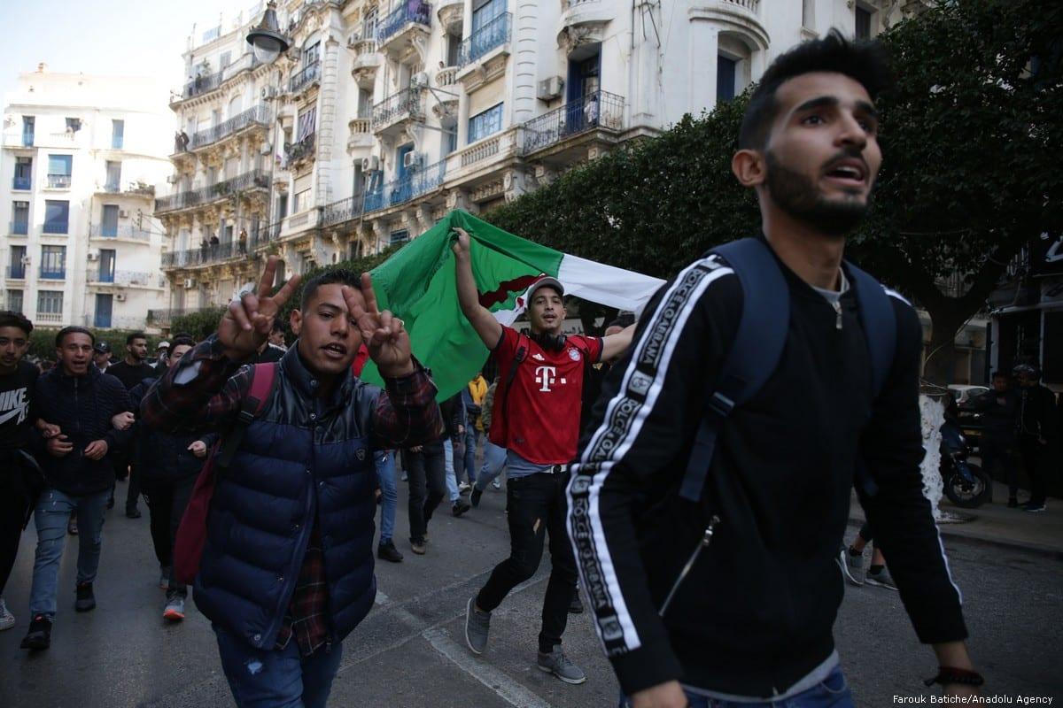 Algerian university students protest against candidacy of President Abdelaziz Bouteflika for a 5th term in Algiers, Algeria on 26 February 2019 [Farouk Batiche/Anadolu Agency]