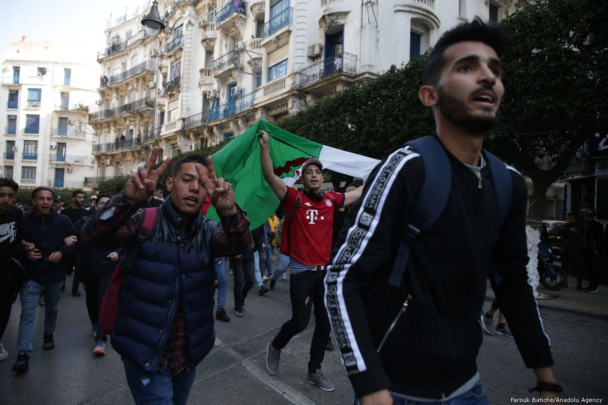 Algerian university students protest against candidacy of President Abdelaziz Bouteflika for a 5th term in Algiers, Algeria on 26 February 2019 [Farouk Batiche/Anadolu Agency]