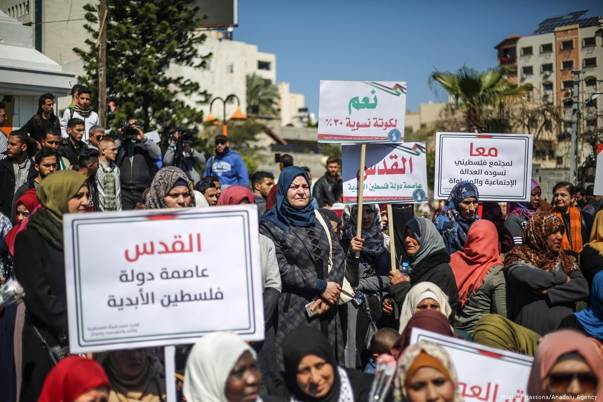 Palestinian women demonstrate against Trump's 'Deal of the Century' in Gaza City, Gaza on 6 March 2019 [Mustafa Hassona/Anadolu Agency]