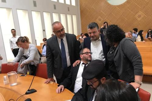 Hadash election hopeful Ofer Cassif with Arab-Israeli Member of the Knesset attend the Supreme Court season on 14 March 2019 to contest a ban on Cassif and Arab-Israel parties Ra'am-Balad running in April's election [Twitter]