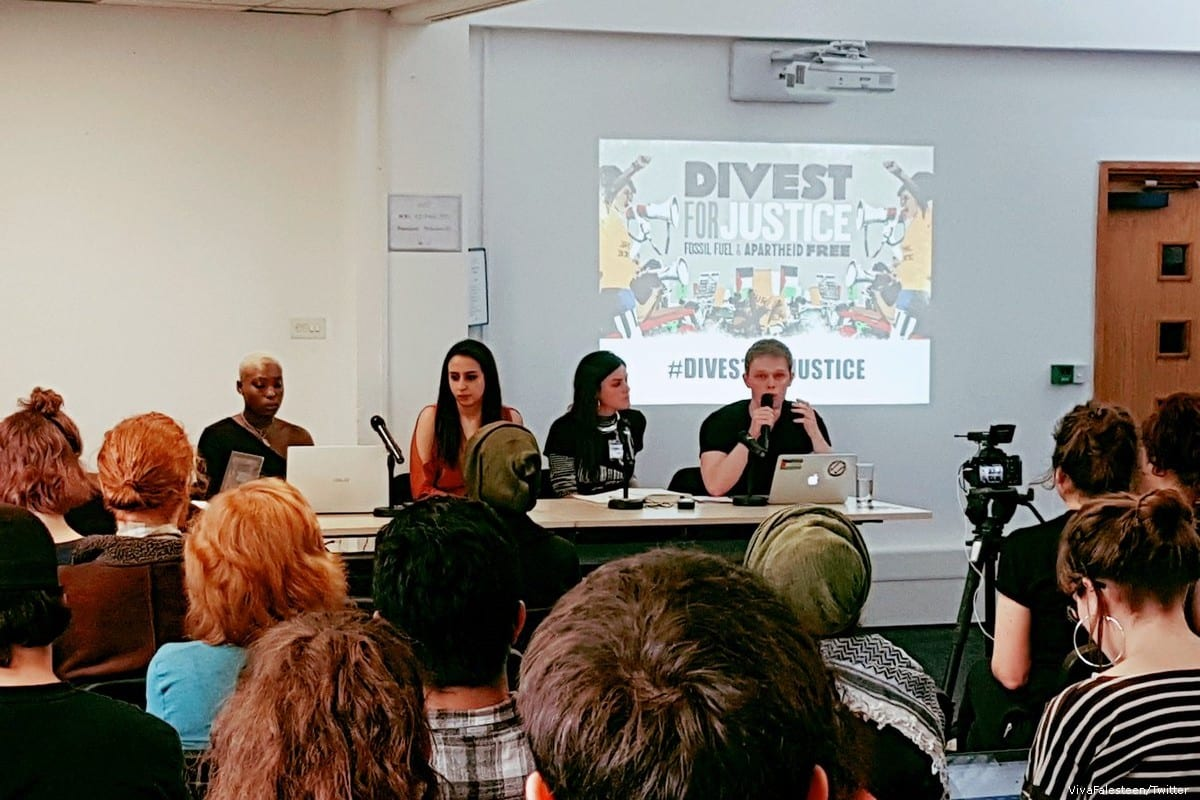 People come together for a conference called 'Divest for Justice' on 2 March 2019 [VivaFalesteen/Twitter]