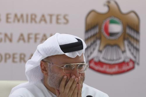Emirati minister of state for foreign affairs, Anwar Gargash, gestures during a press conference in Dubai about the situation in Yemen on 13 August 2018. [KARIM SAHIB / AFP/Getty]