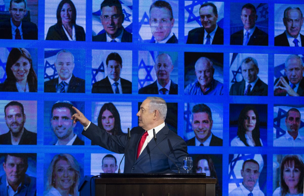 Israel's Prime Minster Benjamin Netanyahu delivers a speech during the launch of the Likud party election campaign on 4 March 2019 [Amir Levy/Getty Images]