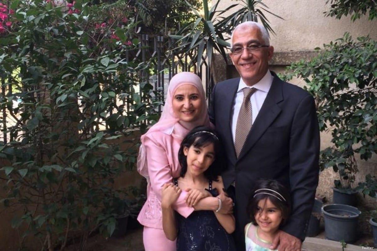 Ola Al-Qaradawi, daughter of the Chairman of the International Union of Muslim Scholars, Sheikh Yusuf Al-Qaradawi, and her husband [Safa.ps]