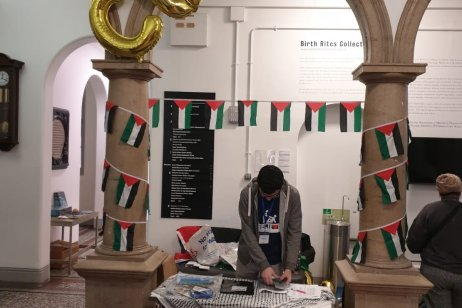 A stall at a conference on Palestine in London, UK on 16 March 2019