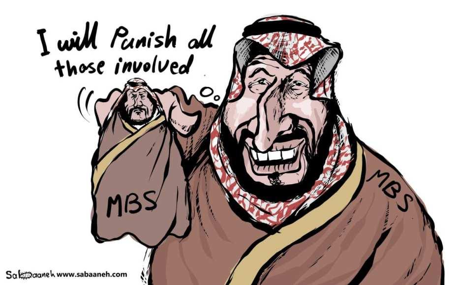 What was the role of Prince MBS in Jamal Khashoggi's death - Cartoon [Sabaaneh/MiddleEastMonitor]