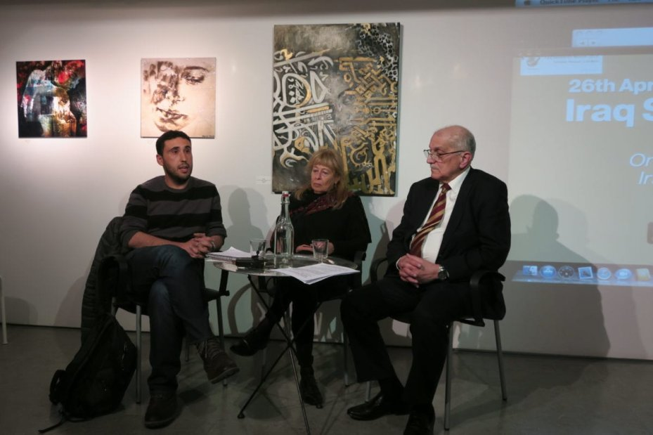 Algerian writer and activist Hamza Hamouchene, Italian Professor of Genetics Paola Manduca and Iraqi consultant engineer Dr. Basil Abdul Jabbar Latif Assa'ati at 'Iraq Solidarity Month: Use of weapons leading to birth defects across Middle East'