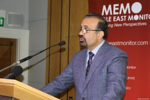 Columbia Univerity's Prof Joesph Massad at MEMO's 'Present Absentees' conference in London on April 27, 2019 [Middle East Monitor]
