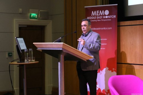 Professor As'ad Ghanem, a lecturer at the School of Political Science, University of Haifa, speaks at MEMO's 'Present Absentees' conference in London on April 27, 2019 [Middle East Monitor]