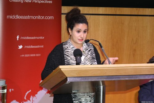 Salma Karmi-Ayyoub, Barrister & Consultant to Al-Haq at MEMO's 'Present Absentees' conference in London on April 27, 2019 [Middle East Monitor]