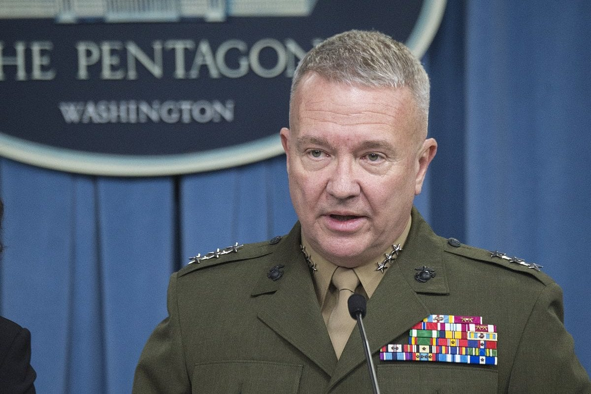 Lt. Gen. Kenneth McKenzie, the then Joint Staff director, briefs the press at the Pentagon in Washington, DC, on November 16, 2017 [US DOD / Dominique A. Pineiro]
