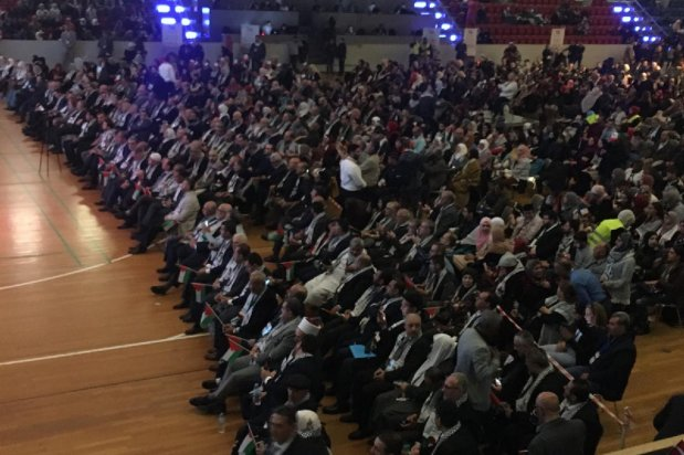 Image from the annual European Palestinian Conference held in Danish capital Copenhagen, on April 27, 2019 [Image courtesy of Palestine Return Centre (PRC) and the Palestinian Forum in Denmark]