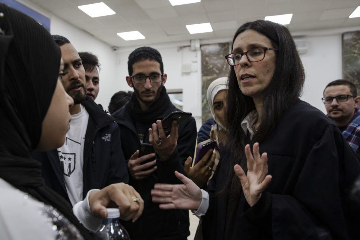 Adi Lustigman, lawyer of Anadolu Agency photographer, Mustafa al-Kharouf's speaks to the press prior to Kharouf's trial at Central Court of Jerusalem, in March 31, 2019. [Faiz Abu Rmeleh - Anadolu Agency]
