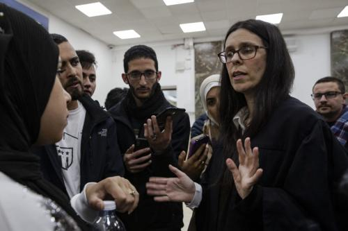 Adi Lustigman, lawyer of Anadolu Agency photographer, Mustafa al-Kharouf's speaks to the press prior to Kharouf's trial at Central Court of Jerusalem, in March 31, 2019. [Faiz Abu Rmeleh - Anadolu Agency]