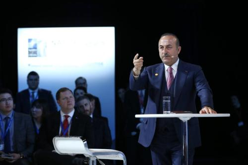 "Turkish Foreign Affairs Minister Mevlut Cavusoglu makes a speech as he attends the panel named as ""Turkey's Role in NATO and Regional Security"" that held by Atlantic Council, German Marshall Fund and Munich Security Conference in Washington, United States on 3 April 2019. [Fatih Aktaş - Anadolu Agency]"