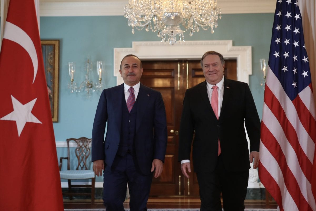 Minister of Foreign Affairs of Turkey, Mevlut Cavusoglu (L) walks with U.S. Secretary of State, Mike Pompeo (R) during their meeting in Washington, United States on 3 April 2019. [Fatih Aktaş - Anadolu Agency]
