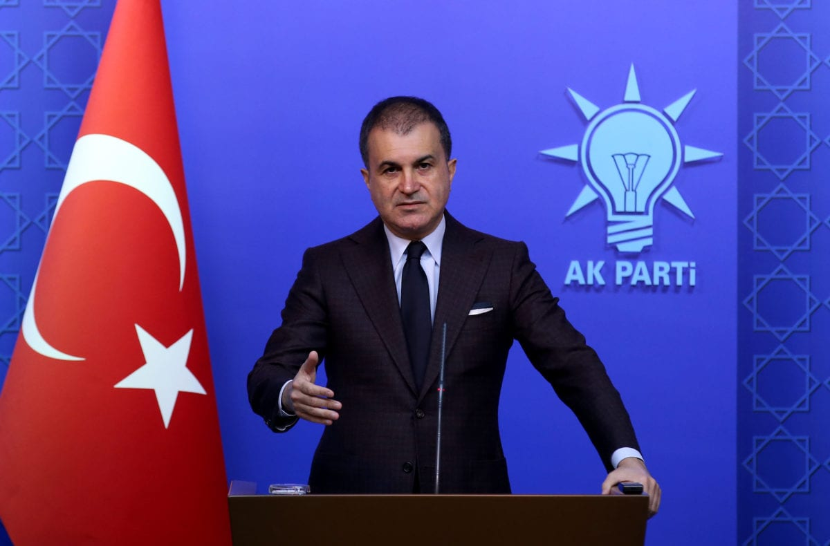 Justice and Development Party's (AK Party) Spokesman Omer Celik speaks during a press conference at AK Party Headquarters in Ankara, Turkey on 4 April 2019. [Raşit Aydoğan - Anadolu Agency]