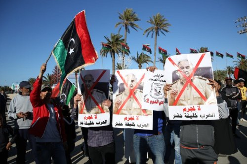 People attend a protest against Libyan military commander Khalifa Haftar's offensive to seize Tripoli, on 12 April 2019. [Hazem Turkia - Anadolu Agency]