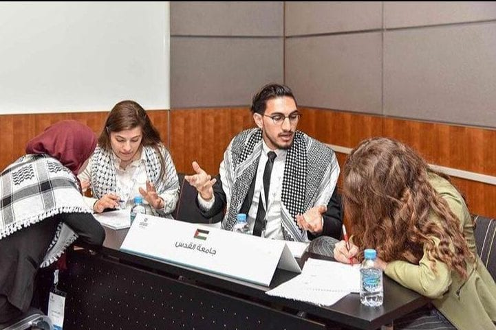 The debating team of Jerusalem's Al-Quds University at the 5th International Universities' Debating Championship in Doha, Qatar.