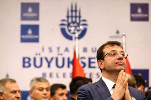 Istanbul mayor-elect Ekrem Imamoglu is seen before the handover ceremony at Istanbul Metropolitan Municipality building in Sarachane of Istanbul, Turkey on 17 April 2019. [Şebnem Coşkun - Anadolu Agency]