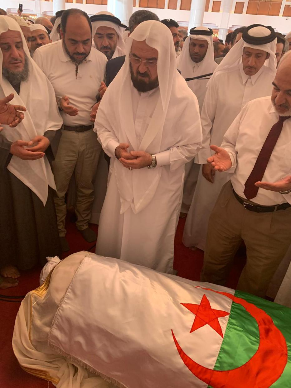 Funeral ceremony of one of the co-founders of Algerian political party Islamic Salvation Front Abbasi al-Madani held at Imam Muhammad ibn Abd al-Wahhab Mosque in Doha, Qatar on April 25, 2019. [Serdar Bitmez - Anadolu Agency]