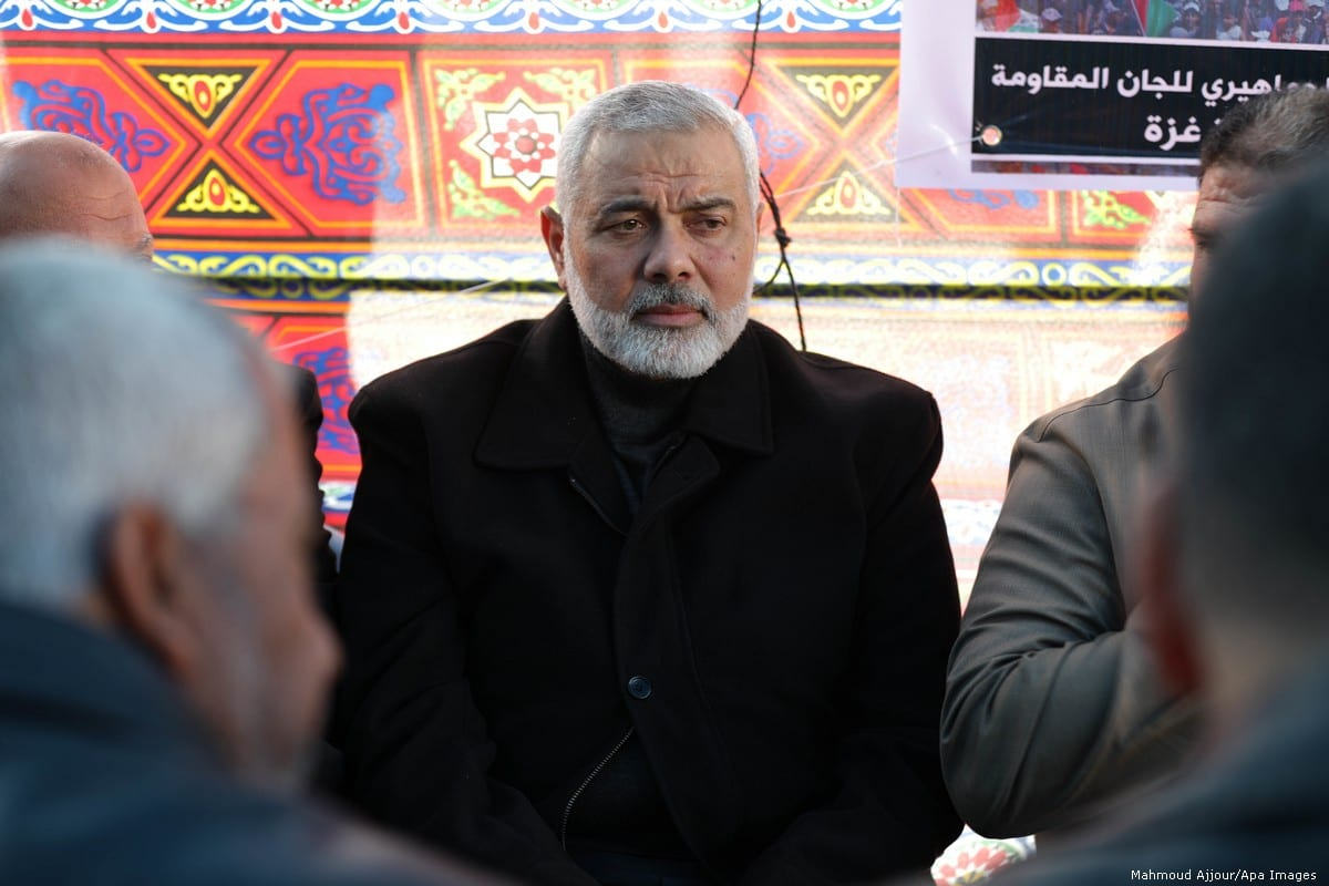 Palestinian Hamas chief Ismail Haniyeh in Gaza on 20 March 2019 [Mahmoud Ajjour/Apa Images]